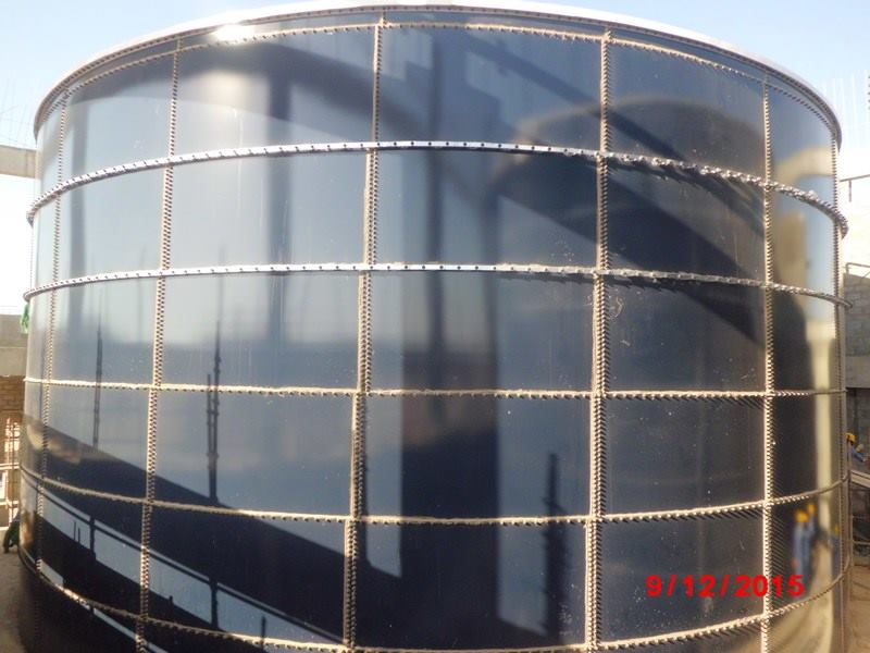 Construction of 1,700m3 Fire Water Storage Glass Fused Tanks-External view