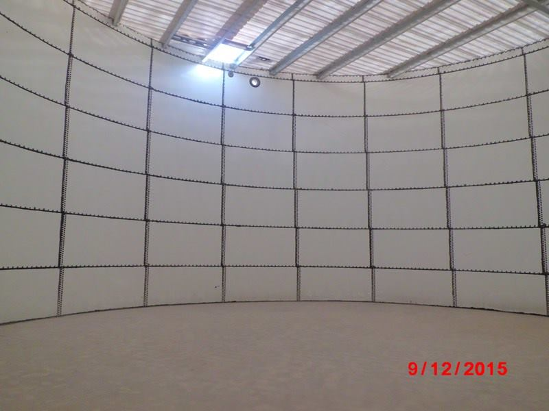 Construction of Glass fused fire water tank at Adam-Internal view