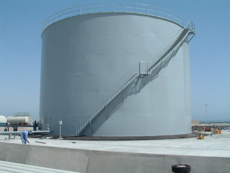 Construction on API tank at Fuel farm